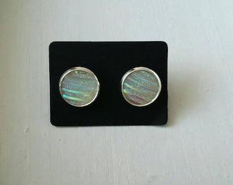 Small Stud Earrings white stripes