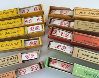 Vintage French Laundry Labels , Red Script Initial Ribbon in Original Boxes