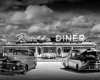 Historic Rosie's Diner with Vintage Automobiles in Black & White near Rockford Michigan No.BW83035 A 50's Diner Car Photograph