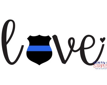 Police Love Decal. Cop Officer Law enforcement Police Hero. Serve and Protect. Wife girlfriend fiance mom sister daughter