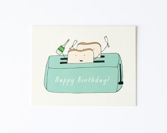 Birthday Card, Birthday Toast Card, Toast Card, Toast To You Card, Toast Birthday Card, Champagne Toast Card, Toasting Card, Toaster Card
