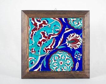 Handmade Ceramic (Iznik Pottery) Tile with Wood Frame