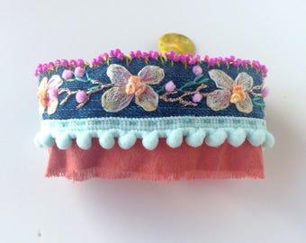 Textile bracelet - embroidered cuff - Bohemian bracelet