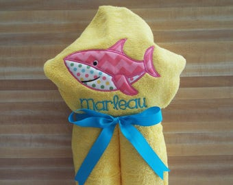 Happy Shark Hooded Towel, Girls Towel, Shark, Beach Towel, Bath Towel Embroidered, Monogrammed, Personalized