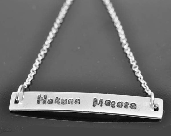 Personalized necklace, bar, initial, minimalist, identity, name, necklace, custom, message