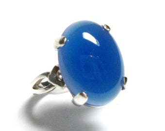 "Agate ring, blue agate ring, agate cabochon ring, solitaire ring, anniversary, bold blue, s 6 1/2   ""Misty Blue"""
