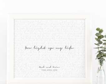 Wedding Vows Valentine's Day Gift Keepsake Print for Newlyweds & Anniversaries - You Light Up My Life