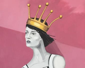 "Surreal Portrait of a Woman with a Crown - large acrylic painting, 24"" x 30"""
