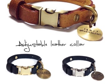 "Quick-Release & Adjustable leather collar with custom brass tag ID. (""Collar-Me-Black/Brown"")"