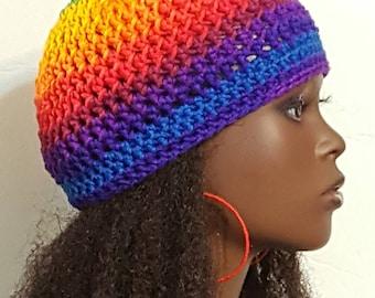 Rainbow Crochet Skullcap Beanie and Earrings by Razonda Lee Razondalee