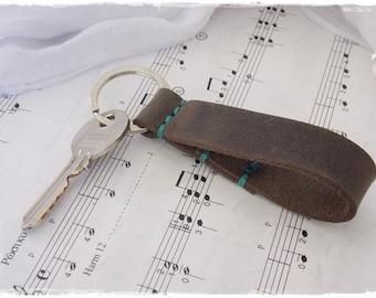 Rustic Key-Ring, Brown Leather Keyfob, Viking Leather Key-Ring, Celtic Keyring, Men's Leather Key Fob, Key Ring For Him, Saxon Key Holder