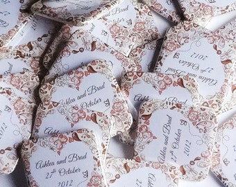 Wedding favour magnets 20 medium square magnets personalise with your text,  Wedding favor bomboniere