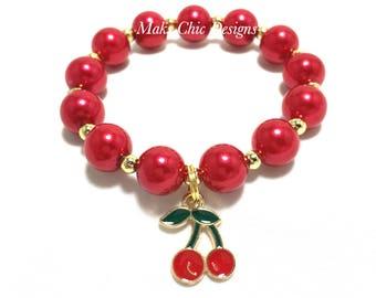 Toddler or Girls Small Beaded Cherry Charm Bracelet - Girls Red and Green Bracelet - Fruit Bracelet - Red Cherry Party Favor Bracelets