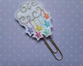 Cloud Raining Stars. Planner Feltie Clip.  Paperclip.  Felt Clip. Planner Gifts.  Stationery.
