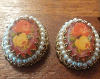 Rose and Pearl West German Clip on Earrings