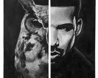 Drake's Views from the 6ix Canvas Print (OVO Drizzy Champagne Papi Aubrey Graham Toronto More Life Art Painting Rap Concert Blem Scary Hours
