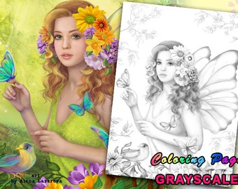 PRINTABLE Coloring Page, Grayscale. Fantasy fairy