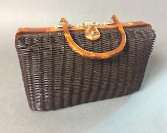 Vintage purse / vintage 60s purse / wicker purse / chocolate brown purse / lucite purse / vintage handbag / vintage bag /