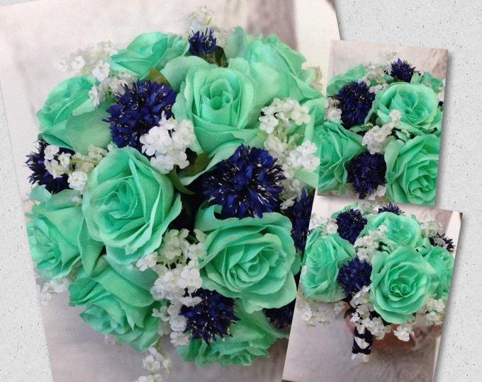 Custom Mint with Navy Bridal Bouquet Set