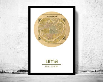 LIMA - city poster - city map poster print