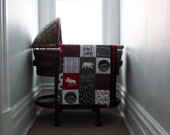Black & Red Wildreness Wholecloth Quilt