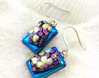 Dichroic fused glass earrings, Fused glass Dichroic jewelry, glass fusion, jewelry handmade, blue earrings, modern earrings, dichroic glass