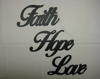 Faith Hope Love Metal Wall Word Set