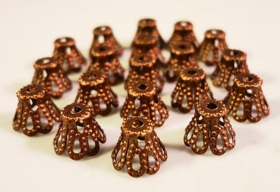 Copper Bead Caps 5x6mm Antique Copper Metal Filigree Basket Beadcap End Cap Jewelry Making Findings Fits 5-8mm Beads 100pcs