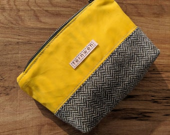 waxed canvas pouch, zipper pouch, tweed pouch, coin purse, make up bag, yellow pouch, yellow waxed canvas, tweed pouch bag,  tweed bag