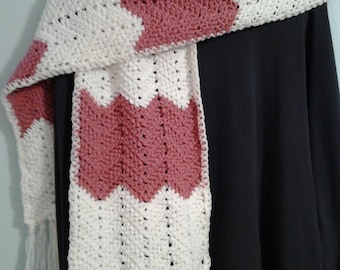 Hand Knit Chunky Chevron Scarf with Fringe