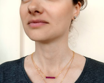Gold Gemstone Necklace, Bar Necklace, Delicate Crystal Necklace, Simple Layering Necklace