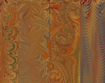 Hand Marbled Paper Set: 4 Sheets 8x11 (Library Brown)
