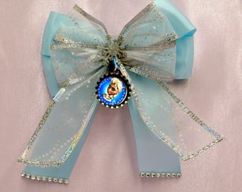 Queen Elsa Bottle Cap Bow with Tails