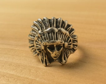 Vintage Sterling Silver Native American Chief Headdress Ring Size 10.5