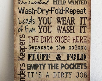 LAUNDRY ROOM Rules, Primitive Wood Sign, Housewarming gift, Country signs, tan plaque, Home Wall Decor