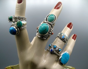 Ring, silver, turquoise. Sterling