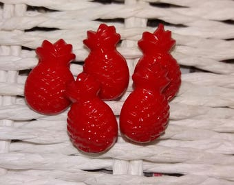 set of 5 original bright red pineapple buttons
