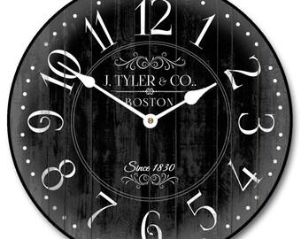 Harbor Black Wall Clock