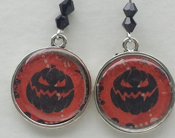 Halloween Black Pumpkin Earrings Black Crystals FREE SHIPPING
