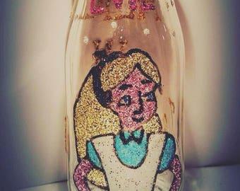Alice in wonderland style milk bottle