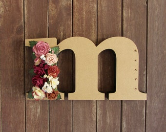Floral Decorated Wooden Letter - lowercase m / wall nursery birthday wedding office decor
