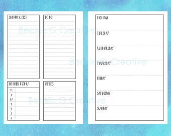 A5 Weekly Planner Pages - Alice