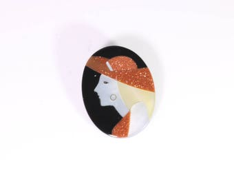 Black and Mother of Pearl Inlay Brooch
