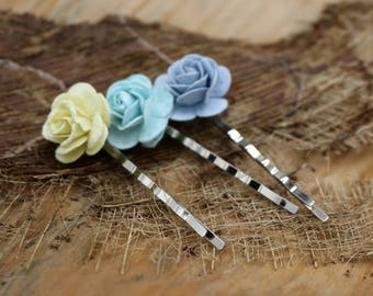 Flower Hair Pins , Mulberry paper Flower Hair Pins, Bobby Pins ,Floral Hair Pins Set Bridesmaids(FL203)