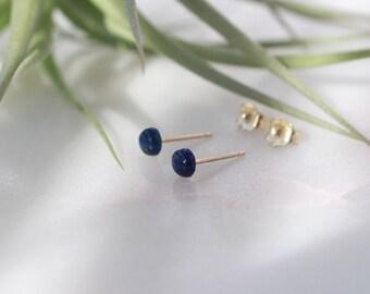 Tiny Lapis Lazuli Stud Earring - 4mm(small), 14K Gold Filled