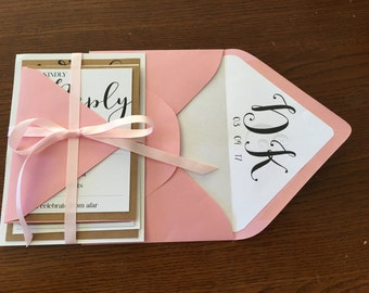 Rustic & Pink Wedding Invitation