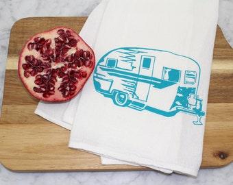 Vintage Camper Tea Towel - Screen Printed Cotton Flour Sack Towel - Handmade - Kitchen Towel -  Camping