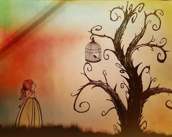 Pastel & ink drawing of little girl and tim burton inspired tree! A1 size