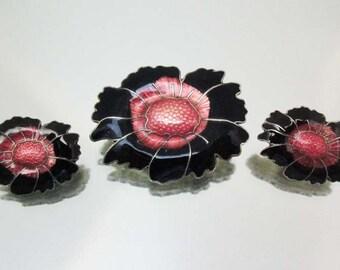 Black & Pink Enamel Flower Pin and Earrings Silver Tone Unused