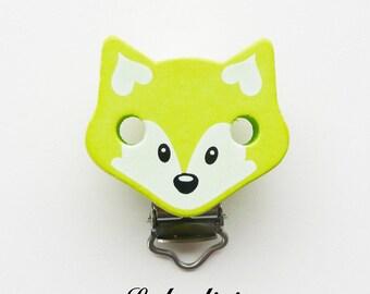 Clip / buckle, wooden pacifier Clip, Fox: light green